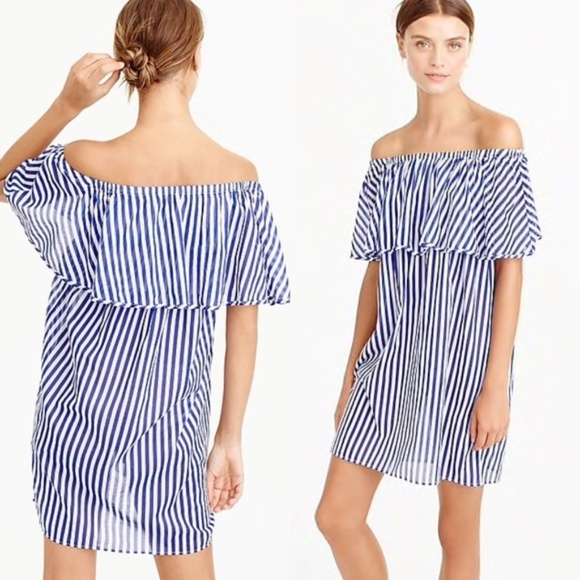 J. Crew Other - J.Crew Off The Shoulder Striped Dress Beach Cover